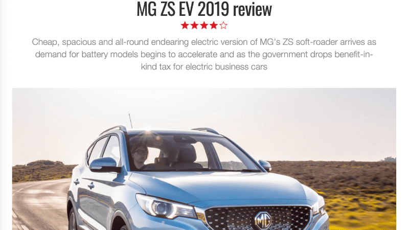 Autocar Review MG ZS EV